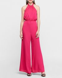 Express Halter Neck Wide Leg Palazzo Jumpsuit Pink Xxs