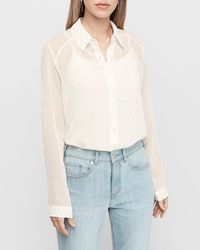 Express Sheer Metallic Portofino Shirt Ivory - White