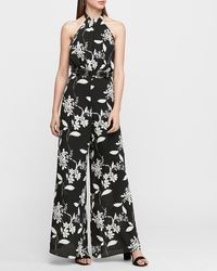 Express Floral Halter Neck Wide Leg Palazzo Jumpsuit Black Print Xxs