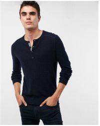 Express - Cotton Henley Sweater - Lyst