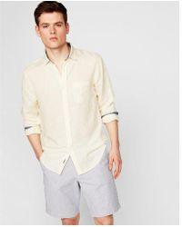 Express - Slim Striped Linen-blend Shirt - Lyst