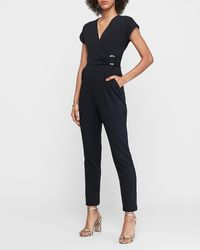 Express O-ring Wrap Front Jumpsuit - Black