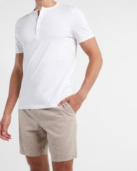 Express Big & Tall Solid Cotton Short Sleeve Henley White Xxl