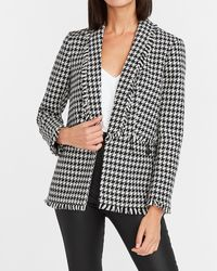 Express Houndstooth Frayed Trim Cropped Business Blazer Black And White