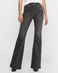 Express Super High Waisted Denim Perfect Black Embellished Rhinestone Slim Flare Jeans
