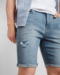 Express Ripped Medium Wash Hyper Stretch Jean Shorts - Blue