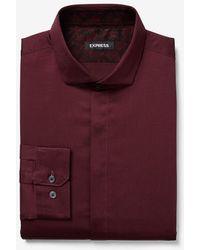 Express Slim Sateen Patterned Cuff Dress Shirt Red Xs