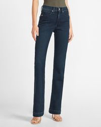 Express Mid Rise Dark Wash Supersoft Bootcut Jeans, Size:00 Short - Blue