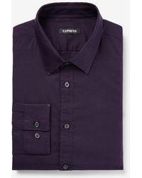 Express Slim Solid Stretch Cotton 1mx Dress Shirt - Blue