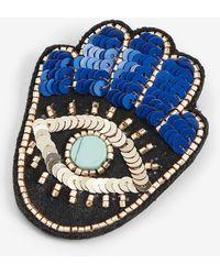 Express Hamsa Sequin Brooch - Blue