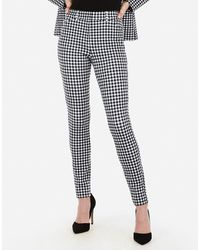 Express High Waisted Gingham Print Stretch Skinny Pant Black And White