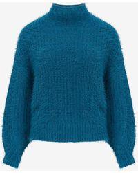 Express Fuzzy Chenille Mock Neck Sweater Default Xxs - Blue