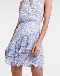 Express Paisley Ruffle Wrap Front Dress Blue Print