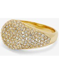 Express Luv Aj Pave Signet Ring Shiny Gold - Metallic