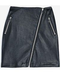 Express High Waisted Faux Leather Asymmetrical Zip Mini Skirt Black 00