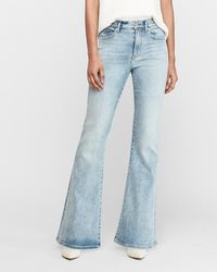 Express High Waisted Light Wash Faded Bell Bottom Flare Jeans, Size:4 Short - Blue