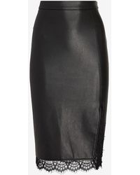 Express High Waisted Lace Trim Faux Leather Pencil Skirt Black 00