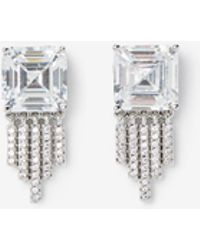 Express - Cubic Zirconia Stone Fringe Earrings - Lyst