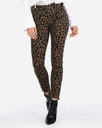Express - Mid Rise Leopard Ankle Jeggings, - Lyst