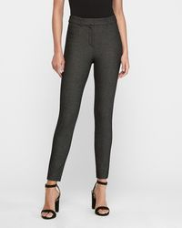 Express - High Waisted Textured Skinny Pant Black And White - Lyst