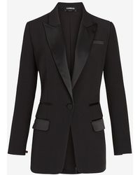 Express Supersoft Satin Trim Tuxedo Jacket Pitch Black