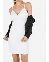 Express Seamed Mini Dress White