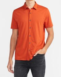 Express Slim Solid Short Sleeve Soft Shirt Orange Xs