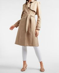 Express Belted Pleated Back Trench Coat Beige - Natural