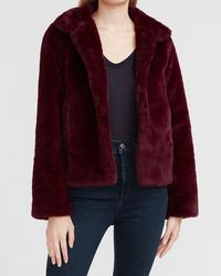 Express Cosy Faux Fur Coat Purple Xs - Red