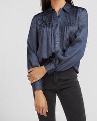 Express Metallic Pleated Front Shirt Blue Xxs