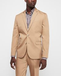 Express - Slim Camel Cotton-blend Stretch Suit Jacket Neutral - Lyst