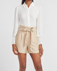 Express Super High Waisted Linen-blend Paperbag Tie Shorts Neutral Print - Natural