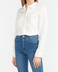 Express Button-up Military Shirt Ivory - White