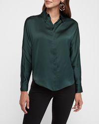 Express Satin Dolman Sleeve Shirt Green