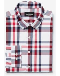 Express Extra Slim Plaid Wrinkle-resistant Performance Dress Shirt - Red