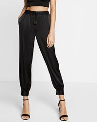 Express Mid Rise Tie Front Jogger Pant - Black