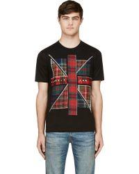 Junya Watanabe Black Plaid Union Jack T_shirt - Lyst