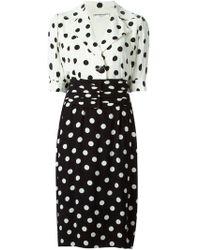 Yves Saint Laurent Vintage Dotted Dress black - Lyst