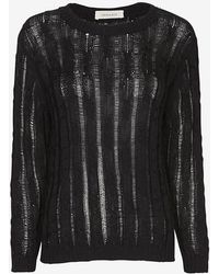 INHABIT - Exclusive Cable Knit Sweater: Black - Lyst