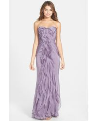 Adrianna Papell Ruffled Chiffon Dress - Lyst