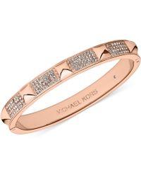 Michael Kors Crystal Pavé and Pyramid Stud Hinge Bangle Bracelet - Lyst