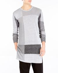 Damir Doma Grey Color Block Oversized Knit Sweater - Lyst