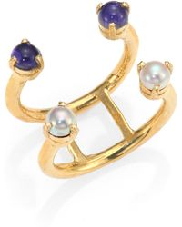 Aesa - Invisible Cities 4Mm White Freshwater Pearl & Iolite Double Wave Ring - Lyst