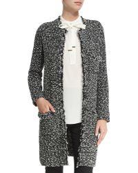 Magaschoni Open-front Tweed Knit Coat - Black