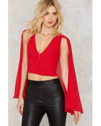 Nasty Gal | Night Fire Cape Top - Red | Lyst