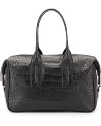 French Connection Lady Crocembossed Fauxleather Satchel Bag - Lyst