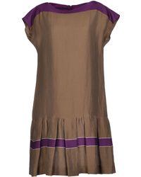 Max Mara Studio Khaki Short Dress - Lyst