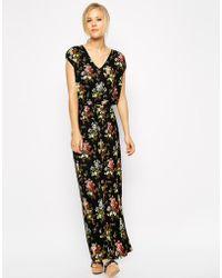 Oasis Primrose Print V Neck Maxi Dress - Lyst
