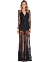 Mason by Michelle Mason Lace Gown black - Lyst