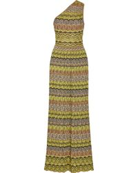 M Missoni Oneshoulder Crochetknit Maxi Dress - Lyst